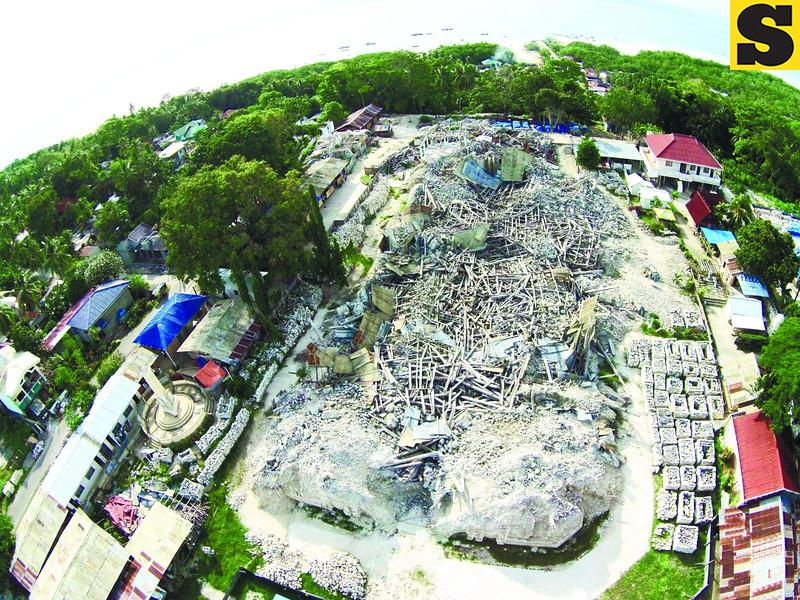 Nuestra Senora de la Luz church in Loon a year after the quake