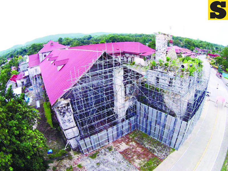 Baclayon church in Baclayon, Bohol a year after the earthquake