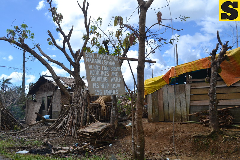 TACLOBAN. A placard asking for medicines, food, and water, stands beside the highway in Marabut, Eastern Samar, on November 28. (Gerwin Babon)