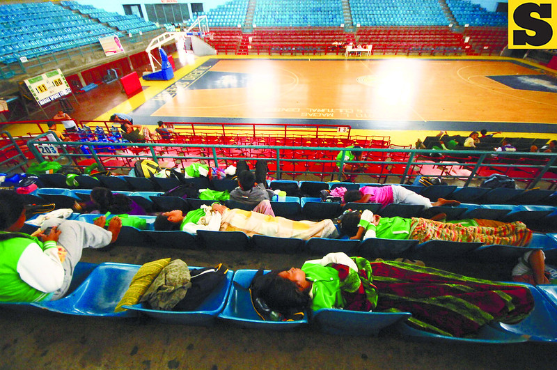 430 delegates from Danao City were evacuated yesterday at the Lamberto Macias Gymnasium. For safety reasons, they had to be moved because their billeting area, Batinguel Elementary School, is located near a river.