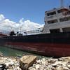 Ship washed ashore by Typhoon Yolanda