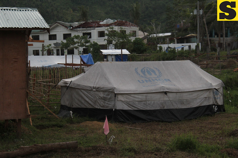 A tent provided to Typhoon Yolanda survivors in Tacloban City