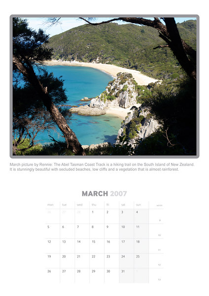 March picture by Rennie: The Abel Tasman Coast Track is a hiking trail on the South Island of New Zealand. It is stunningly beautiful with secluded beaches, low cliffs and a vegetation that is almost rainforest. (Olympus E-500)