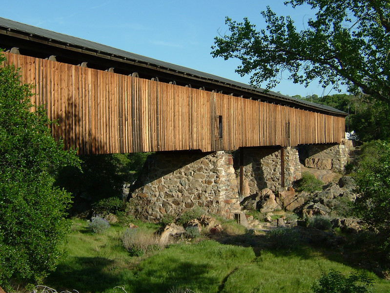 Spanning the Stanislaus River at Knights Ferry California, this old bridge was originally built in <br /> 1865 and refurbished in 1989.