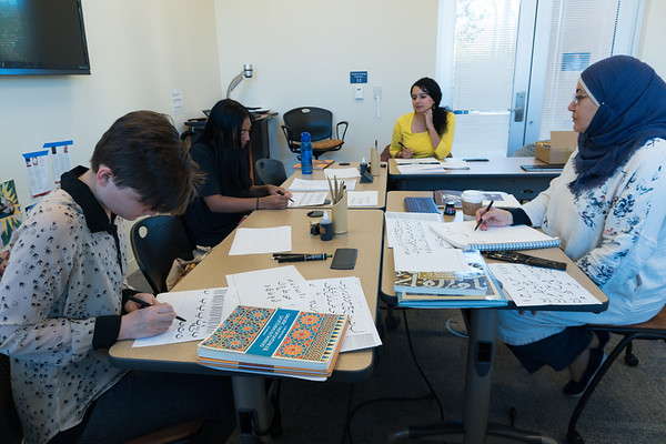 Students learned the entire Arabic alphabet, researched the cultural ties of calligraphy to Islam, and developed basic techniques of working with bamboo pens and inks.