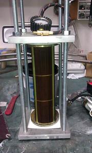 Tube bundle in pressure tester.