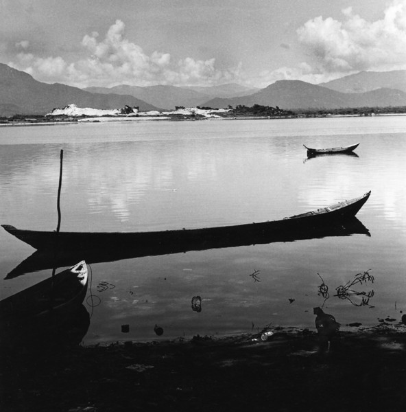 My Ca is a beautiful fishing village near the Naval Air Facility in Cam Rahn Bay. It's a scenic and peaceful place full of quite scenes like the dugout canoes shown here on  the village lagoon. I find the picturesque setting hides a dark secret. I'm here to take public relation's photographs, but instead stumble upon an American public relation's nightmare. Ashamed, I say nothing of this for 40 years.