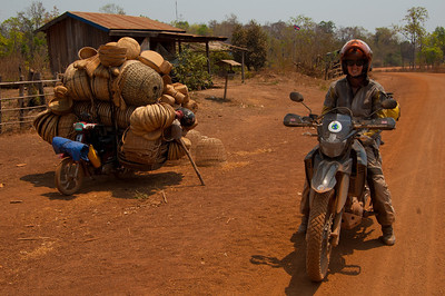 Welcome to Cambodia! We pass mopeds loaded up to rival those in Vietnam.