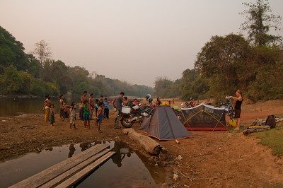 A crowd of villagers start to gather as we set up camp.
