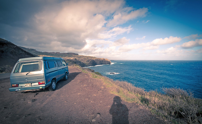 Living life on the edge in Maui. We loved this camper van!