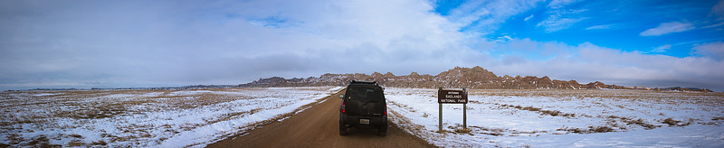 Driving into the Badlands - Badlands National Park, South Dakota - December 2015