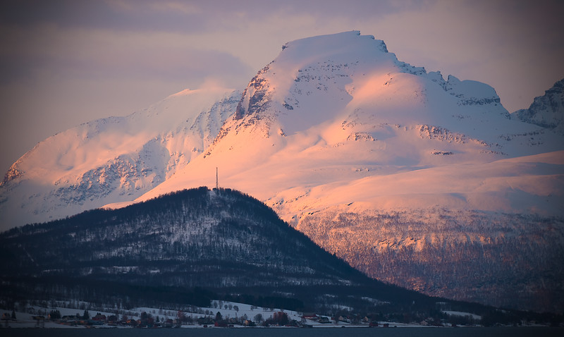 Last Light Catches the Mountains in Norway Approx. 68 Degrees North