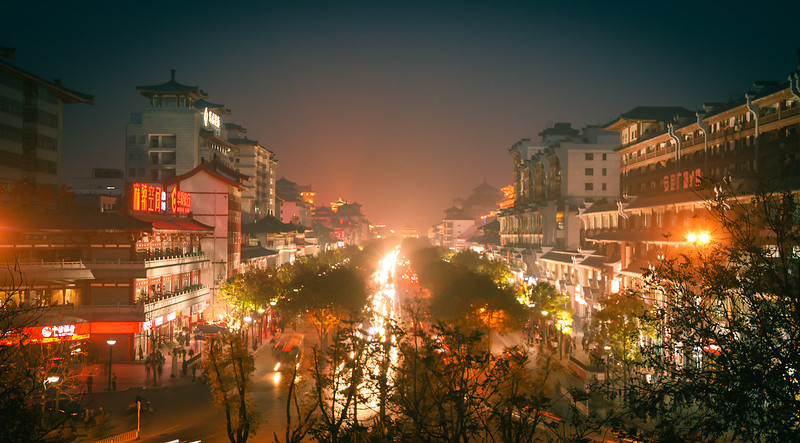 Very smoggy night in Xi'an China