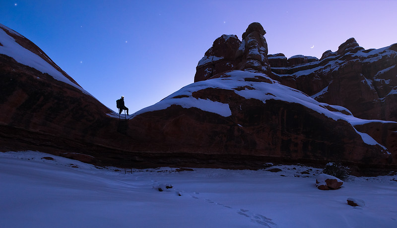 Backpacking at Twilight Through the Needles District - Canyonlands National Park, Utah - January 2016