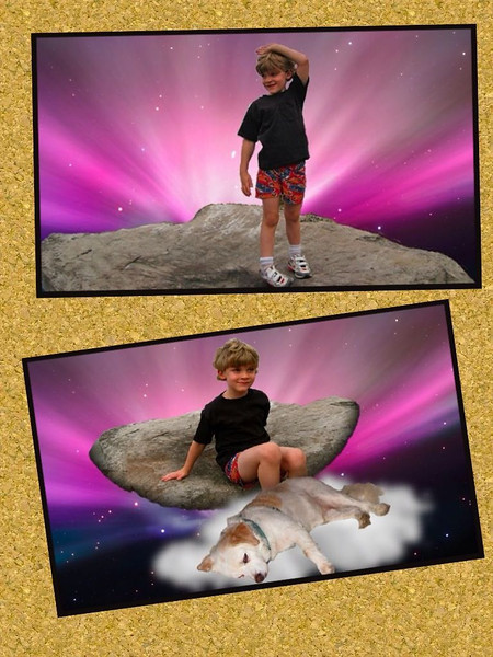A few years ago, Jared climbed on the same rocks as Jaden did recently, at Lorain Marina. Through the magic of Photoshop, the photos were made in to the background of my Mac.