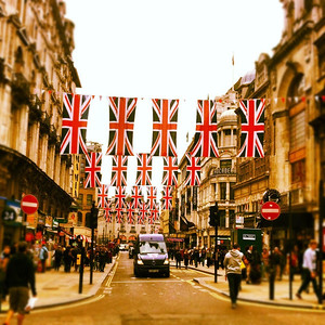Diamond Jubilee flags, Piccadilly Circus London