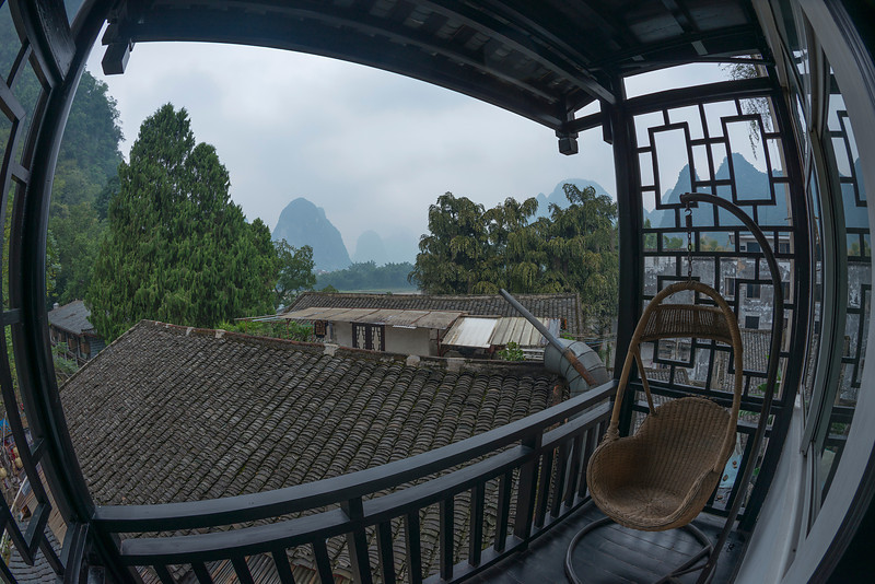 Cloudy day in Xingping China. Taken from the porch of our hostel.