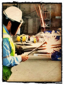 Cutting steel.