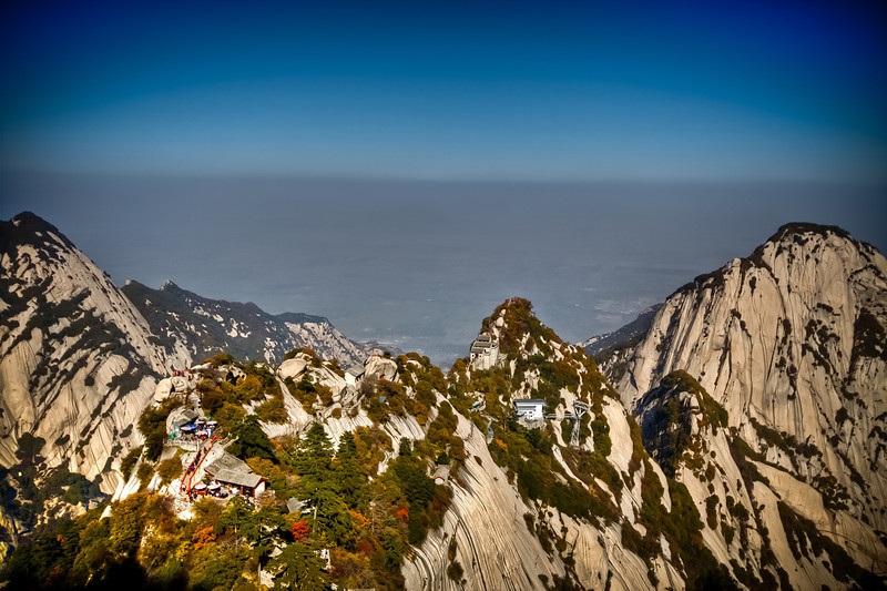 From the top of a view point at Mount Hua in China
