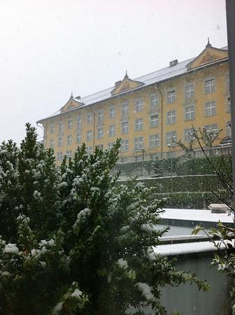 Snowing in Lucerne Switzerland