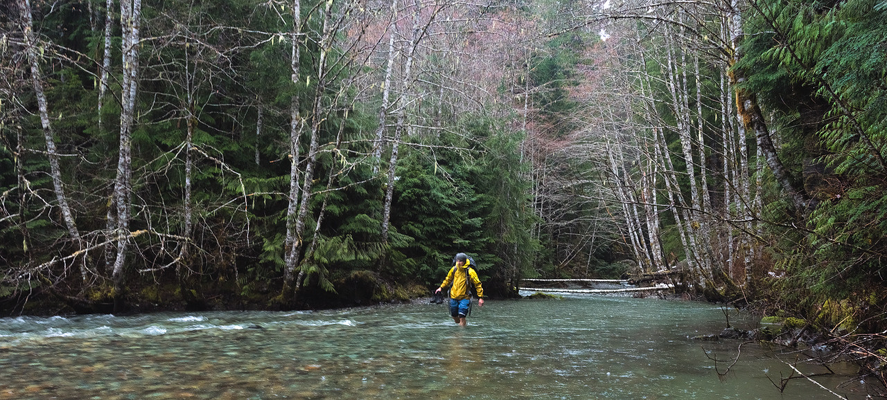 Paul Weeks Fording Ruth Creek, Deep in the North Cascades National Park, Washington - October 2015
