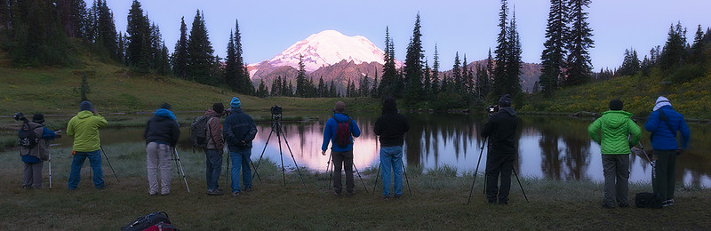 My last group of star photography workshop students for the summer. We had a nice sunrise at Tipsoo Lake to finish the thing off:)
