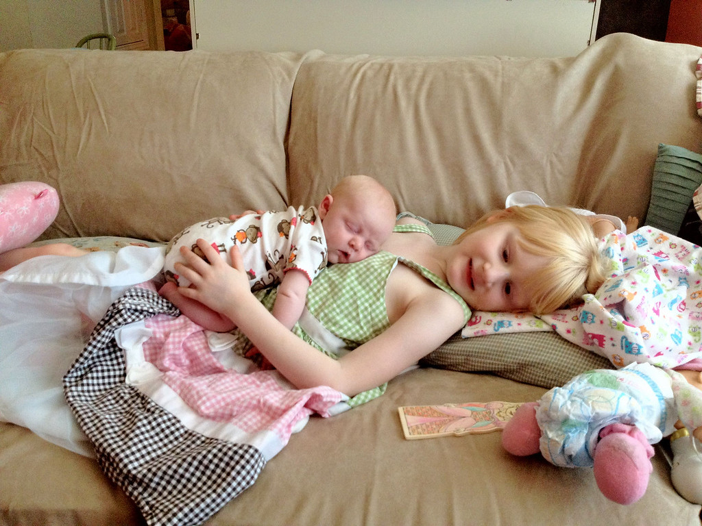 Madison and Ava having cuddle time