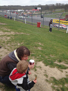Mum & Matt watch porsches  whizz past!