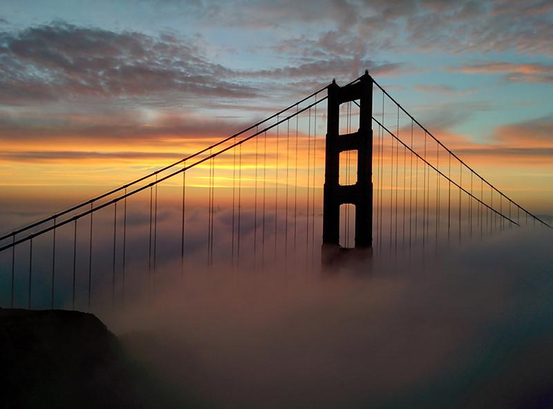 Beautiful sunrise fog over San Francisco