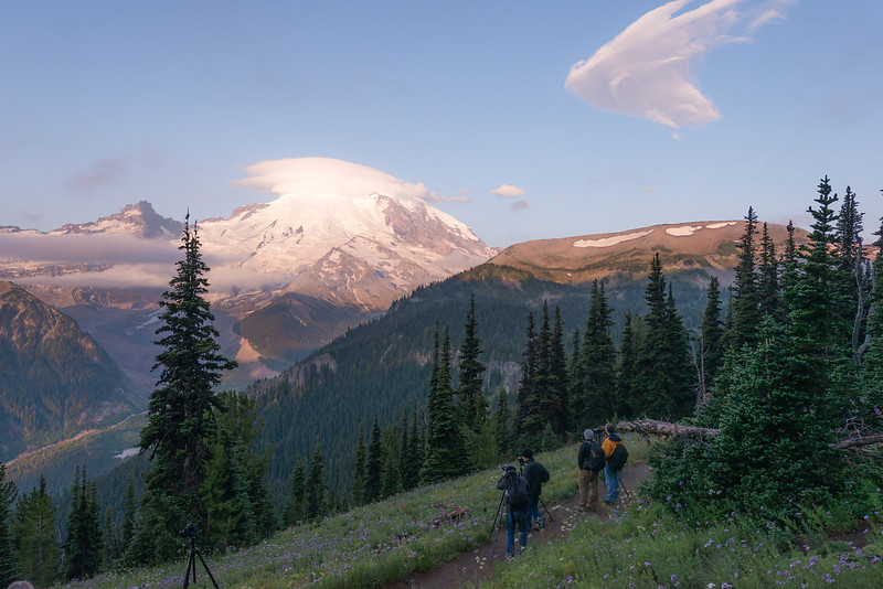 A few of my workshop students who stayed up to shoot sunrise at Mount Rainier after a long night of Milky Way Photography
