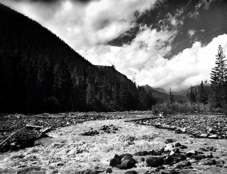 Black and white from the east side of mount rainier