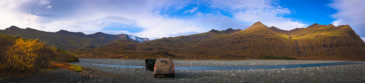 Driving Through a River Valley in Southern Iceland