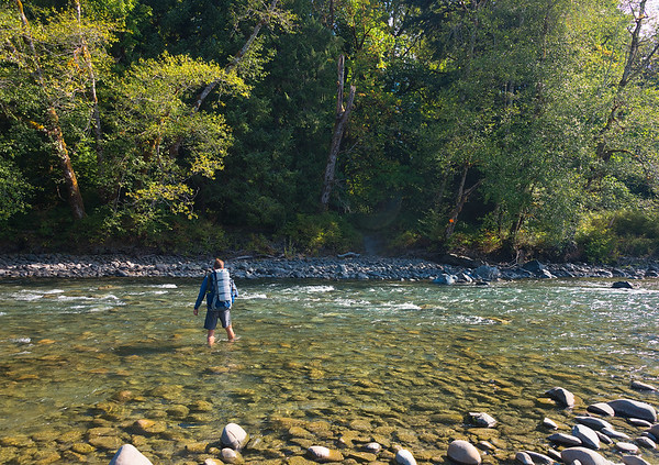 My Brother Lee Fording the Queets River - Washington