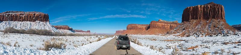 Driving into Canyonlands National Park, Utah - January 2016
