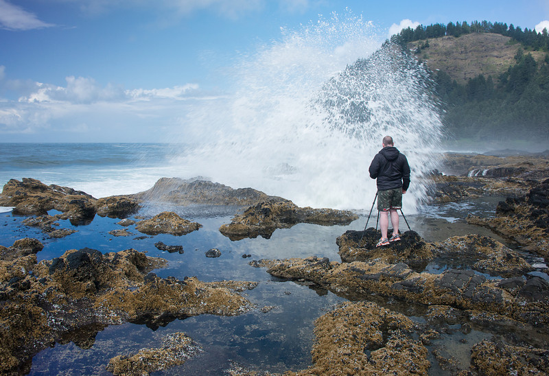 Conor shooting at Thor's Well Oregon