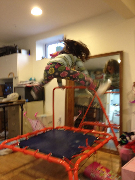 Catherine does some crazy jumps on the trampoline!