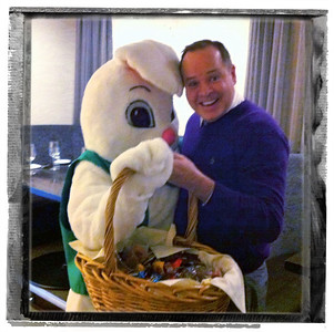 Easter bunny and I share basket brunch at Quay in Chicago. 2012
