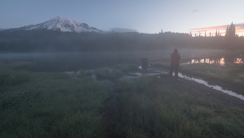 Some of my workshop students shooting a foggy sunrise at Reflection Lakes
