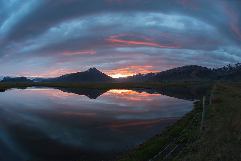 A fun / fisheye shot I took as the sun was coming up one morning in Iceland.