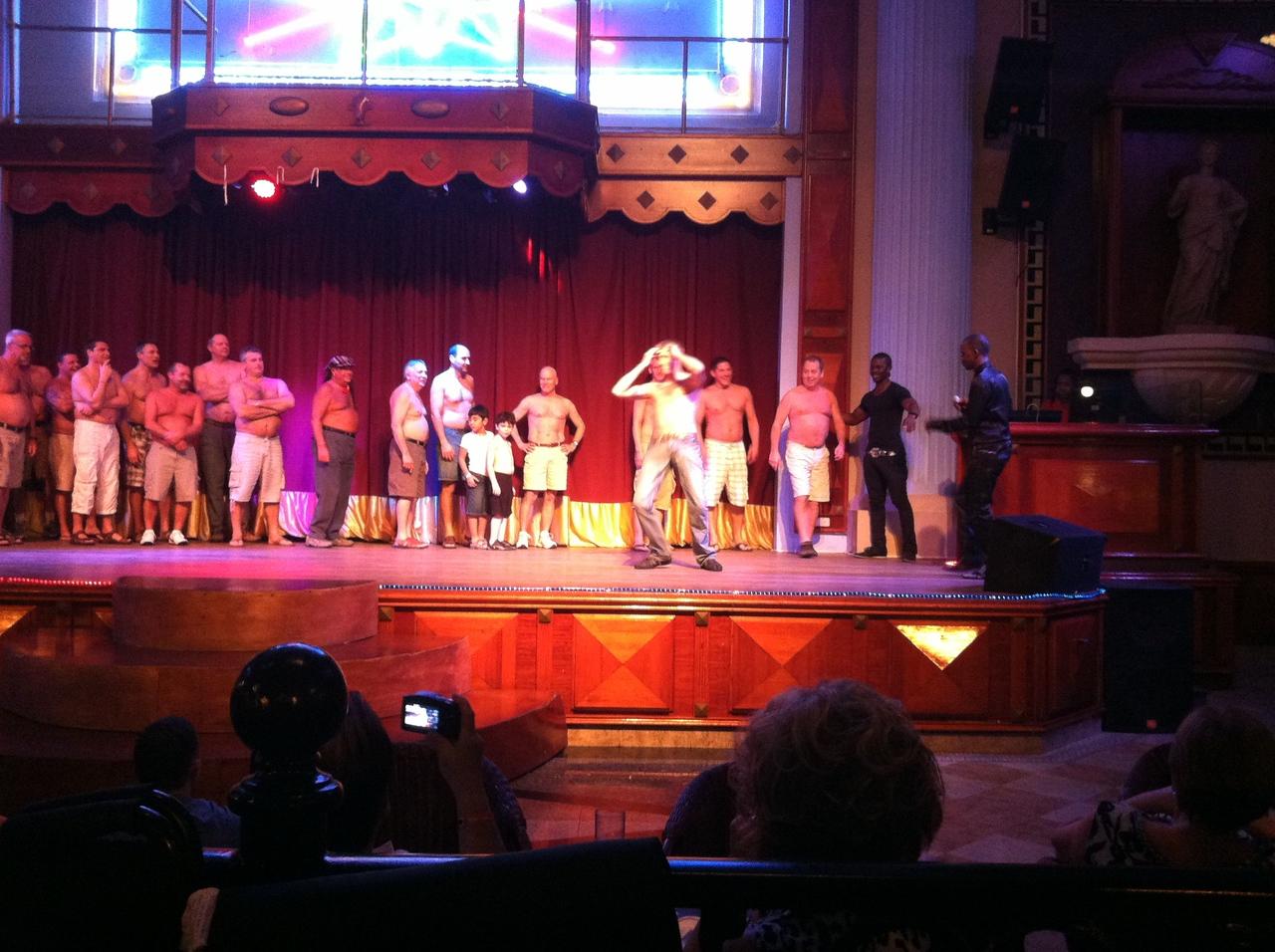 Dan onstage in Jamaica in the Mr Riu contest