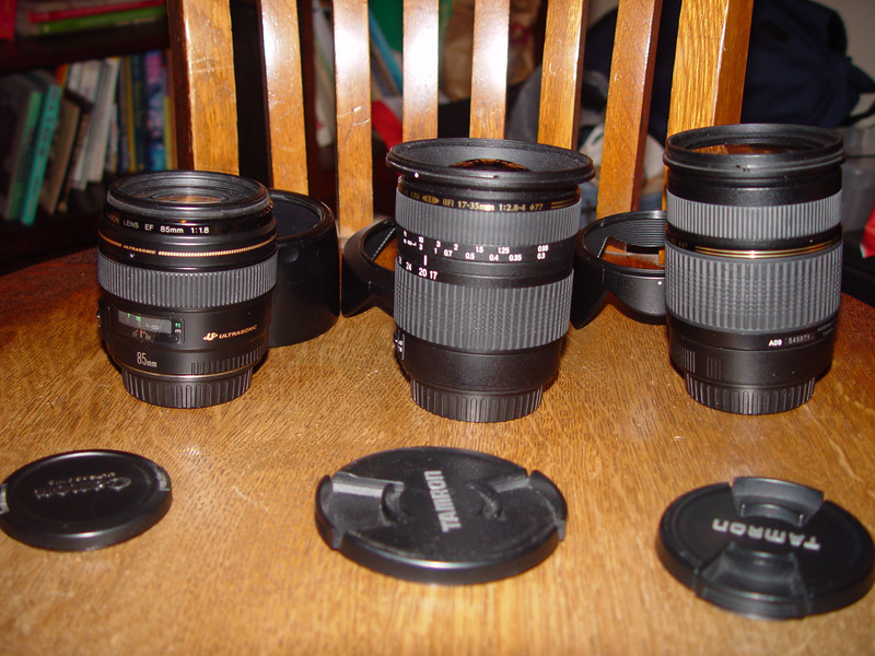 Left Canon 85mm lens, 2nd on list<br /> Middle Tamron 17-35, 4th on list<br /> Right Tamron 28-75, 5th on list