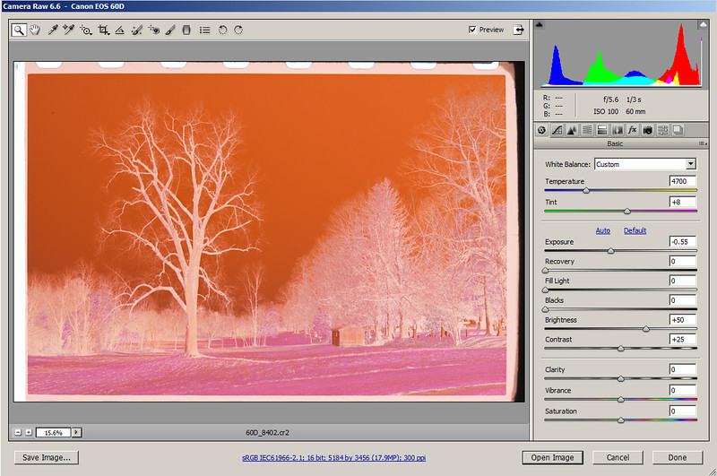 Adjust the color temperature controls so that the histogram doesn't clip on either end.