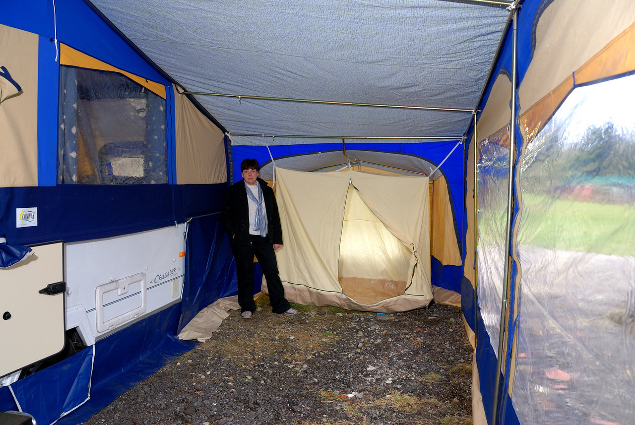 Inside the awning showing extra two person tent with attached groundsheet
