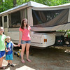 Lily Peterson, 9, Nathan Jaskulka, 3, and Cayleigh Peterson, 12, all of Brookfield, at the Minuteman Campground in Littleton on Thursday afternoon. SENTINEL & ENTERPRISE / Ashley Green