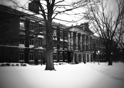 Dewey Hall after a snow storm