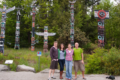 Laura and Tony show us a few of the sights, including these First Nations totem poles at the entrance to Stanley Park.