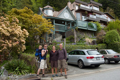 In the charming village of Deep Cove, about to go for a little hike.