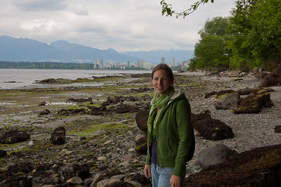 Just four blocks from Laura's apartment is the sea! Downtown Vancouver in the background.