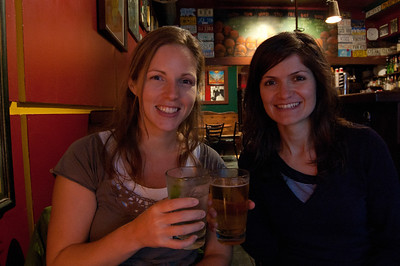 In Vancouver, drinking through the jet lag on our first night with Laura!