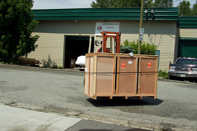 The local Yamaha dealership has kindly picked our crates up from the warehouse - here they come!